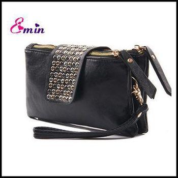 Полиуретан кожа дизайнер заклёпка мешок женщины бумажник мешок монета портмоне женщины ...
