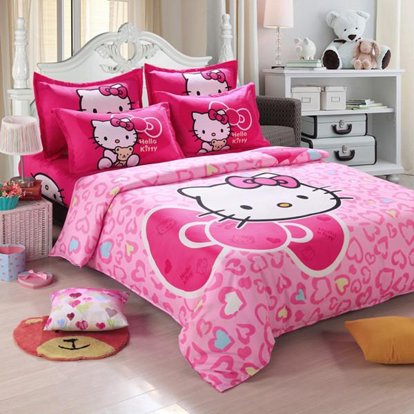 Home textiles Children Cartoon Hello kitty kids bedding set, include duvet cover bed sheet pillowcase(China (Mainland))