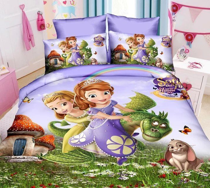 Fast Shipping Kids Girls Sophia princess Bedding set 3D cartoon duvet cover bed sheet and pillowcase Twin Full Queen size(China (Mainland))