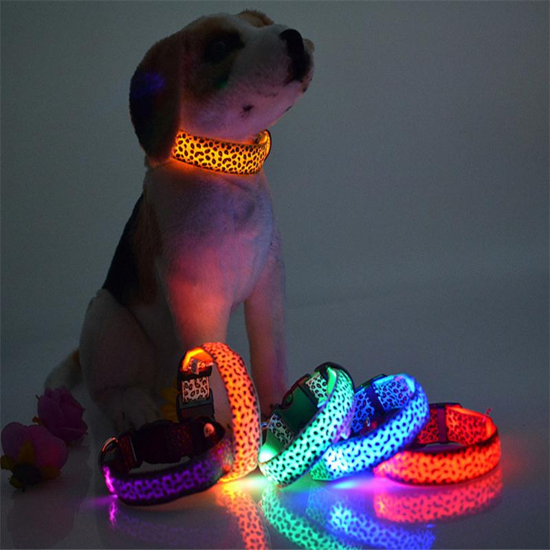 Solid Color Nylon Band Dog Pet Led Flashing Collar Night Light Up Lead Necklace Adjustable S M L Various Colors(China (Mainland))
