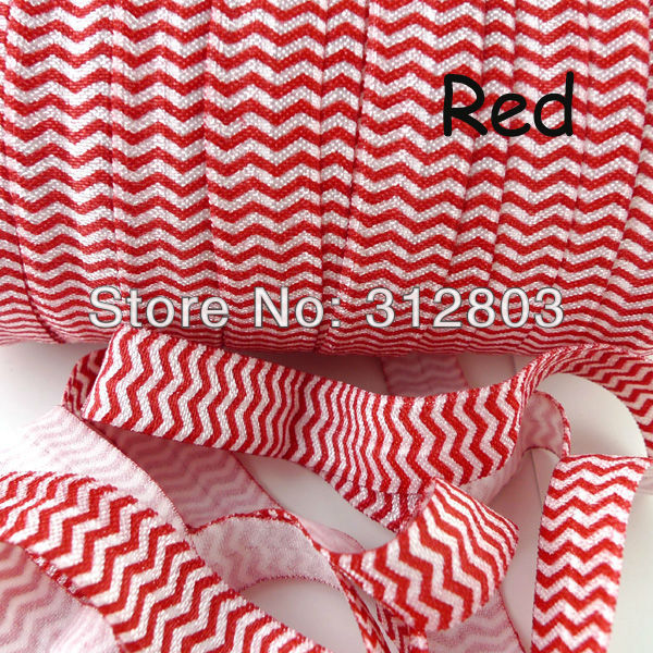 Red Chevron Elastic 50Yards/Roll FOE fold over elastic - 5/8 inch chevron elastic headbands,chevron hair accessory(China (Mainland))