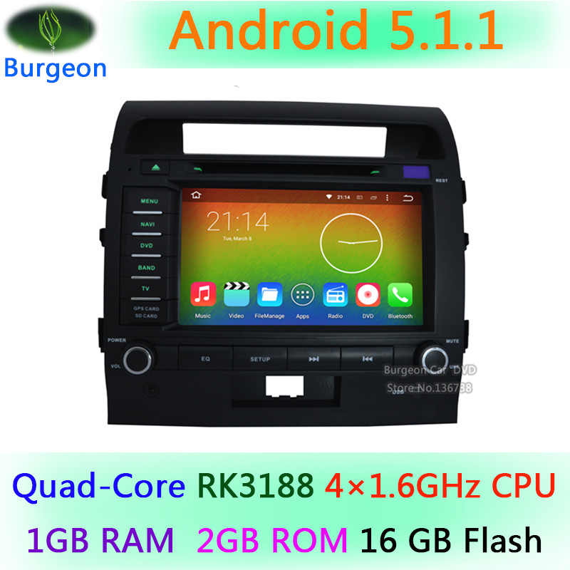 Quad Core HD 1024X600 Android 5.1.1 Car DVD Player for Toyota Land Cruiser 200 2007-2013 GPS Navigation Radio BT Stereo system(China (Mainland))