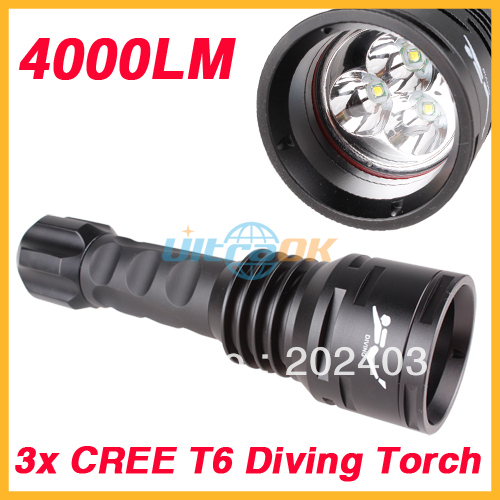4000Lumen 3x CREE XML T6 LED Diving Waterproof Flashlight Torch +2x 26650 Battery+ Charger<br><br>Aliexpress