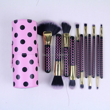 ProfessionalFree Shipping 2014 NEW BH Cosmetics 11 pcs Pink-A-Dot Brush Set Professional Makeup Brushes  free shipping