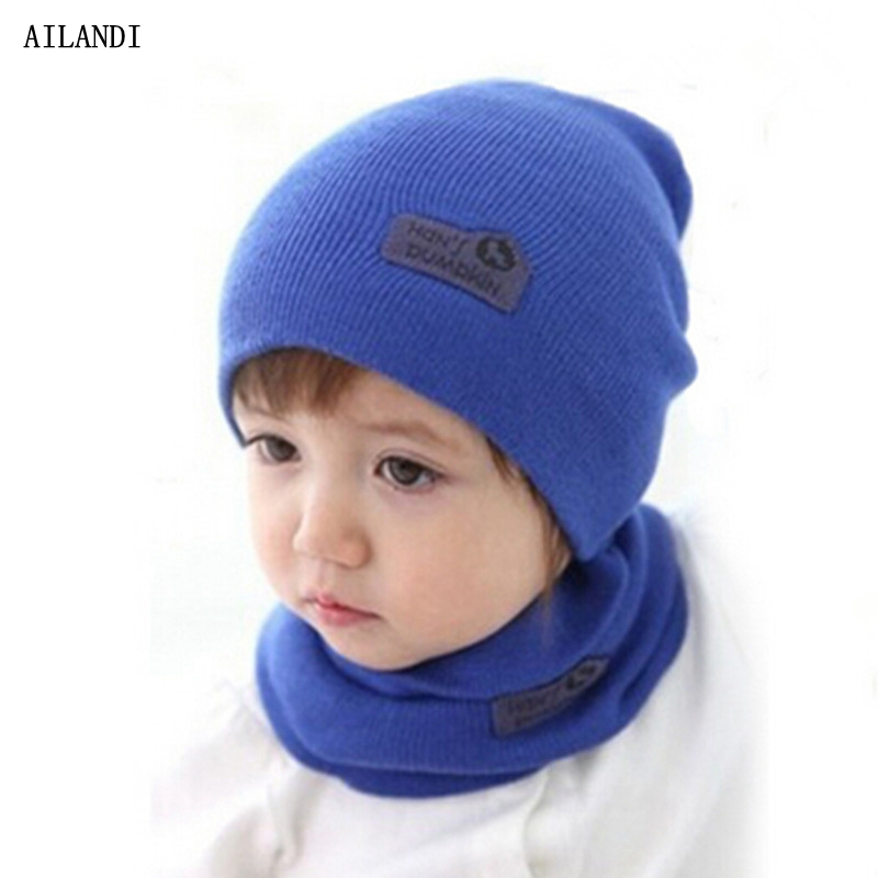 5 Color Casual Hedging Crochet Child Hat Warm Letter Knitted Kids Hats For Unisex Solid Wool Baby Winter Caps + Scarf Suits(China (Mainland))