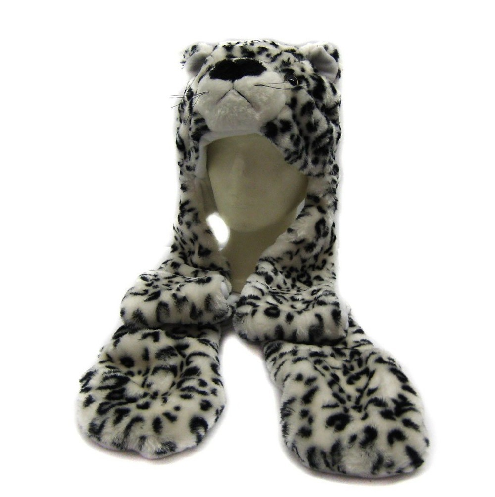 New Fashion Cute Plush White Leopard Animal Hat with Paws for Teenagers Winter Hats Free Shipping(China (Mainland))