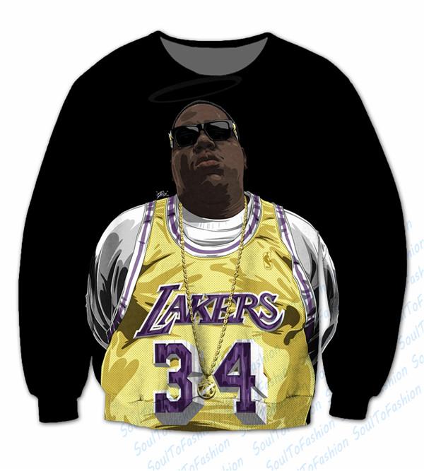 Real USA Size Curstom made Notorious BIG Lakers 3D Sublimation print Crewneck Sweatshirts plus size(China (Mainland))