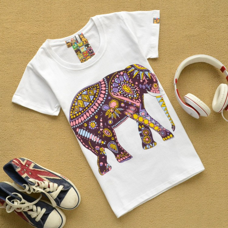 2014 women t shirt casual cute vintage cotton 3D Tshirt short sleeve O neck 3D Printed cartoon tops animal elephant Owl zebra(China (Mainland))