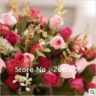 Wholesale,high simulation artificial fake silk flower,37cm,18flowers,wedding gift,red rose,new product,craft,home decor,promote