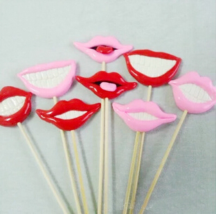 8pcs/lot Photo Booth Props For Wedding/Party POLYMER CLAY Funny Lips with Teeth on a stick Decoration(China (Mainland))