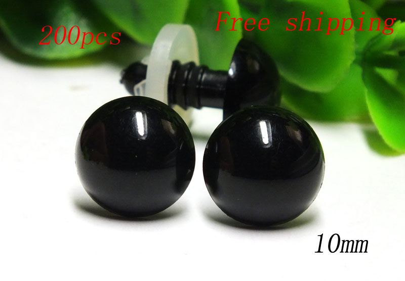 Free shipping!!!Wholesale 10mm 50 Pair Black safety eyes craft bear soft toy snap on plastic child safe