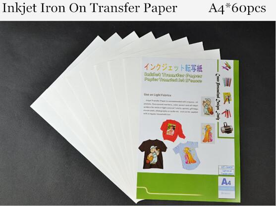 A4 60pcs iron on heat transfer paper inkjet iron on for Iron on shirt paper