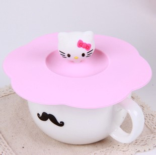 Kawaii Hello Kitty Head Silicone Water Drinking Cup Mug's Lid Cover Anti-dust Cup Cover KCS(China (Mainland))