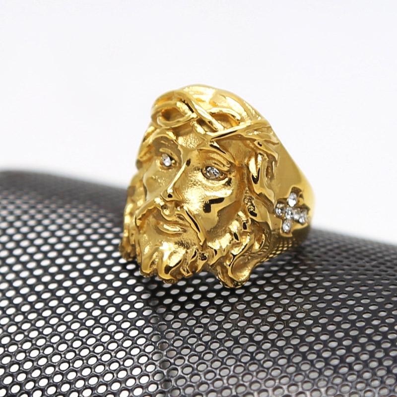 titanium steel jesus ring hiphop rock 18k gold