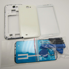 Black/White Full Housing Cover Repair Parts & Outer Glass & Repair Tools For Samsung Galaxy Note 2 II N7100(China (Mainland))