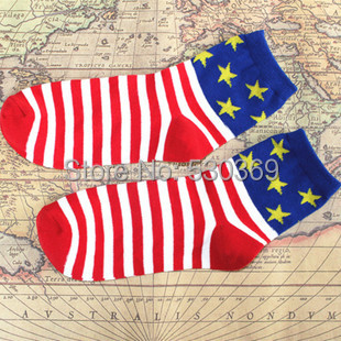 Cute Fashion 1 Pair Warm Blue Star Red Striped American Flag Desgin Cotton Crew Ankle Sock Women - Lovely Angel's store