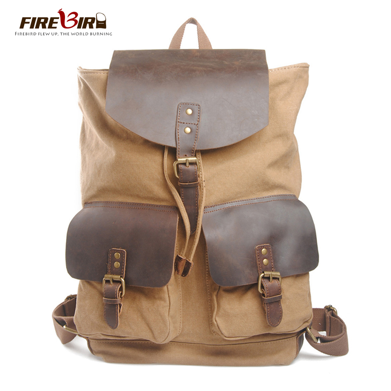 Фотография FIREBIRD! mochila 2015 New Europe Travel Backpacks men Canvas leather  school bags for teenagers Vintage Canvas backpack HL6049