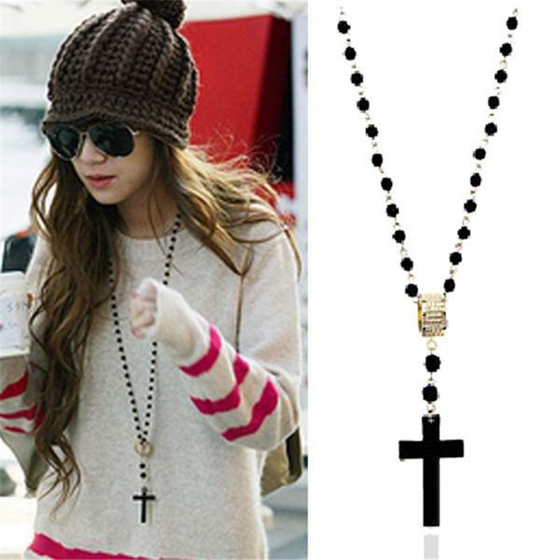 1PC Hot Selling New Fashion Vintage Long Chain Black Beads Cross Pendant Metal Retro Necklace For Women Party Jewelry Accessory(China (Mainland))