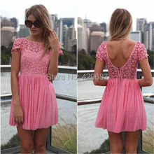 Sexy With Short Sleeves Lace And Chiffon Homecoming Mini Party A Line Gowns 2016 Hot Pink Cocktail Dresses UM1015