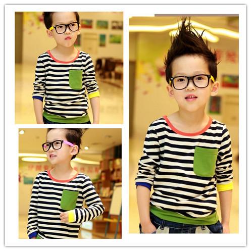 2014 Spring Autumn Full-sleeve green stripe Child T-shirt 100% cotton Fashion Boys Girls Kid's Tee - Love Kitty =^_^= store