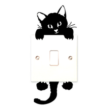 New Cat Light Switch Wall Stickers Cartoon Decor Decals ADJUSTABLE Art Mural Baby Nursery Room Plane Stick Paper Decor CY0724
