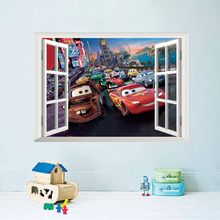Cartoon car child room wall stickers for kids rooms boys room adesivo de parede wall decals 3D Window View Scenery Sticker (China (Mainland))