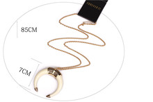 wholesale Alloy Gold Silver Chain Necklace Retro National Ivory Crescent Moon Necklace Women Jewelry For Women