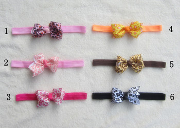 Fashion Beautiful Baby Bow Hairband Leopard bow hair ribbon Manual dots bow Elastic 50 pcs lot MX3027