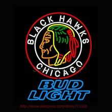Bud Light Commemorative 1938 Chicago Blackhawks Neon Signs Stars Handcrafted Neon Bulbs Real Glass Tube Decorat Room 30x24(China (Mainland))