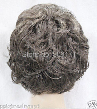 New Fashion Dark Gray Mix Short Curly Women Hair Wig