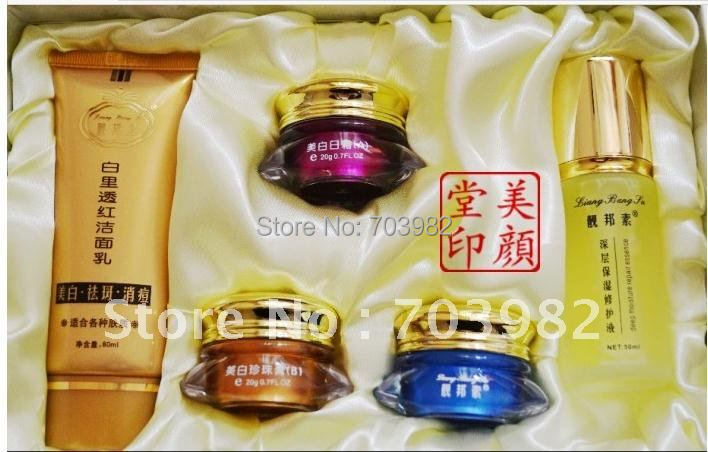 Free shipping new liang bang su Whitening cream acne freckle Set 3+2/ Cleanser 80 ml + ABC cream 20 g + Lotion 50 ml<br><br>Aliexpress