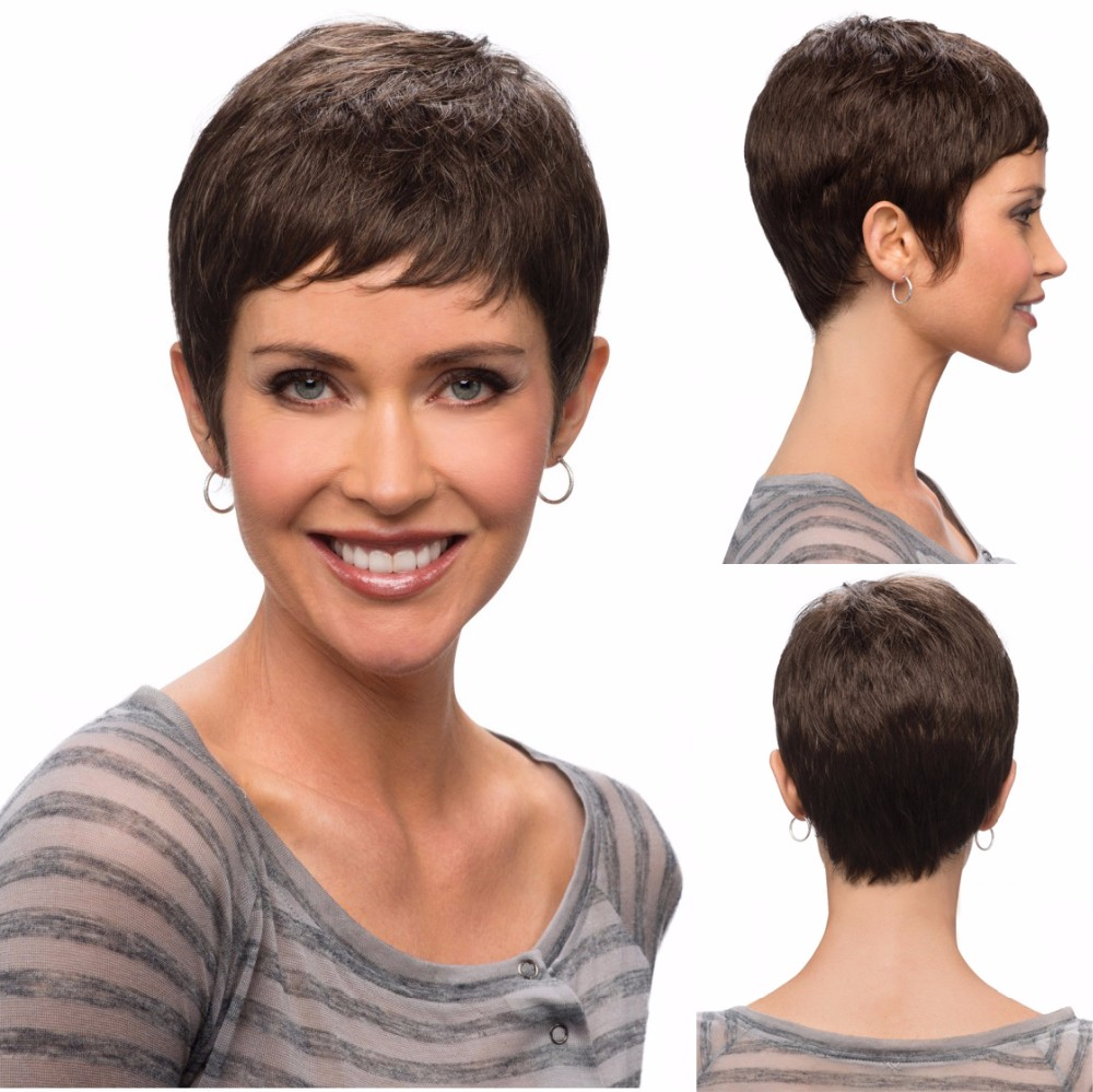 Fashion Women Short Pixie Cut Wigs Black Cheap Synthetic Brown Haircuts African American Wig - Beauty In A Box store