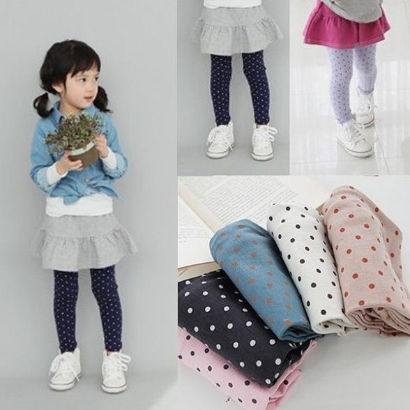Fall Autumn 2-8Y Girls Baby Toddlers Lovely Polka Dot Leggings Kids Cotton Pants Trousers Freshipping - Online Store 133674 store