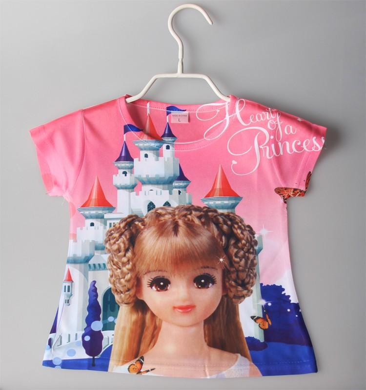 girl's summer t shirt girl's cartoon t shirts kid's shirt children top tee 3D printing cartoon printing t shirts for 3-7yrs(China (Mainland))