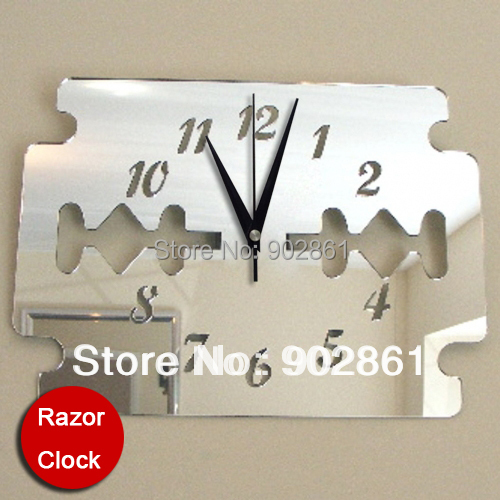 funlife 40x28cm16x11inthree dimensional shaver plastic big mirror wall stickers clock bathroom poster one piece in wall clocks from home garden on - Pendule Salle De Bain