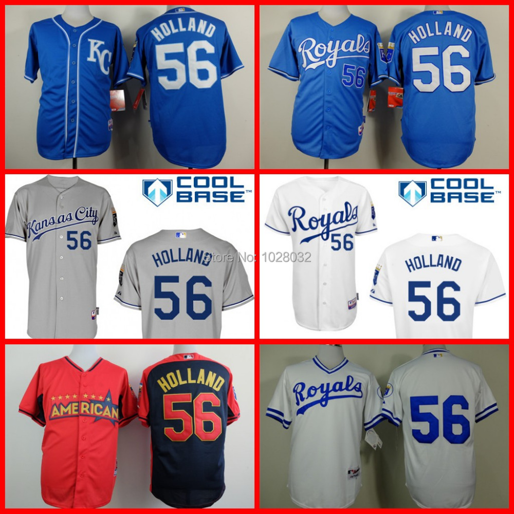 Top Quality Baseball Kansas City Royals Jersey Greg Holland #56 Blue White Red All Star Cool Base,Embroidery Logo,S~3XL(China (Mainland))