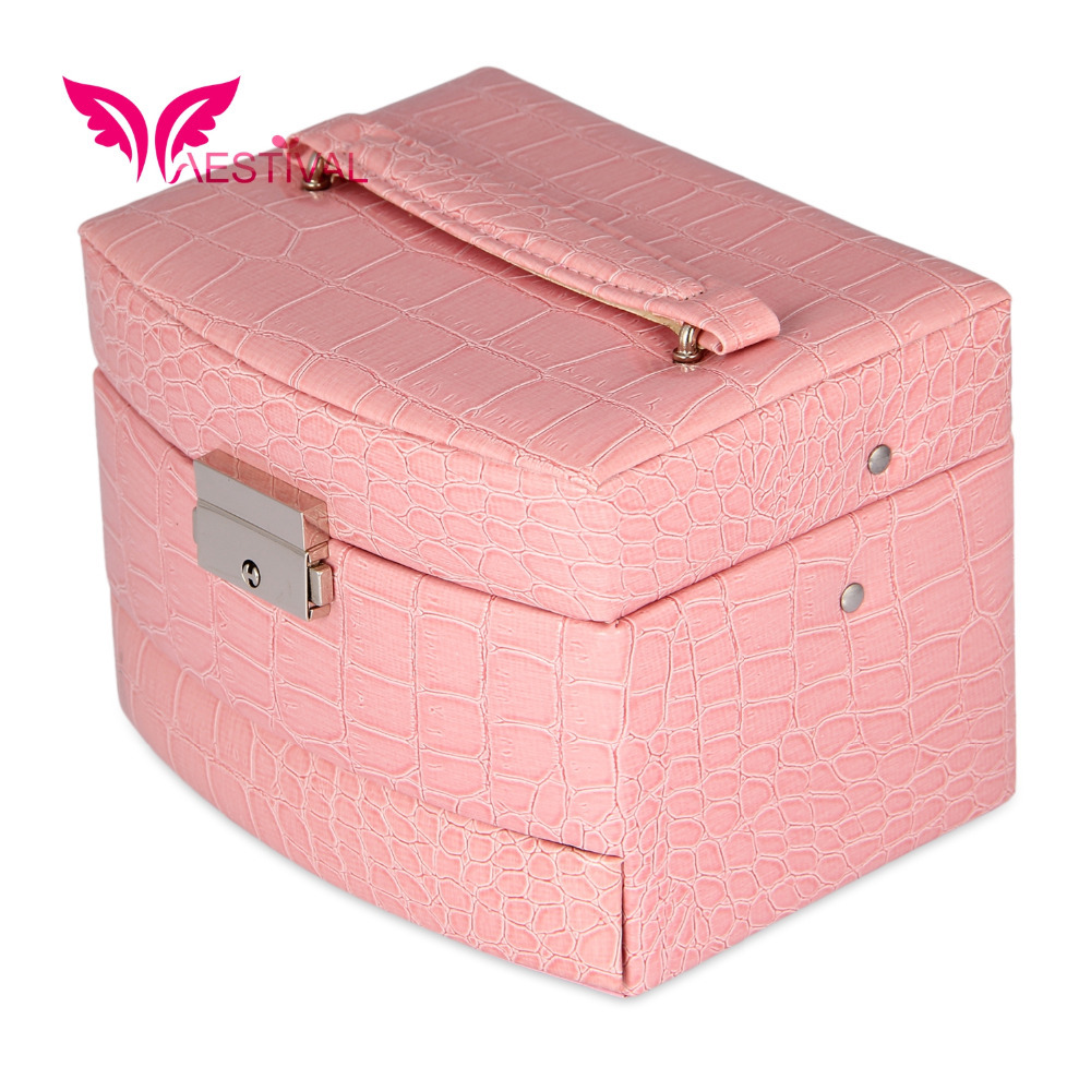 2015 Faux Leather Large Sector Jewelry Box with Handle Jewelry Case Storage US CA shipping available Free Shipping(China (Mainland))