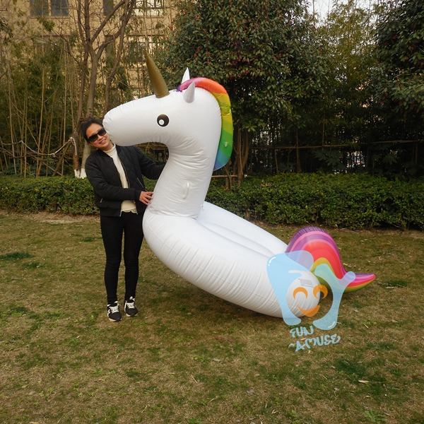2016 Summer HOT 270cm 106 inch Giant Inflatable Rainbow Unicorn Water Pool Floats White Pegasus Float Swimring Air Rafts(China (Mainland))