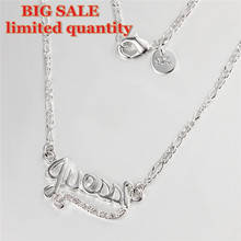 Choker 2016 Silver Letters Charm Zircon Jewelry Crystal Letter Pendant Necklace for Women Collier en Argent Femme collar ketting(China (Mainland))