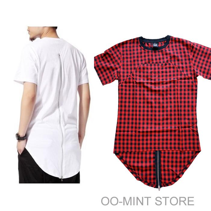 Black/White/Red Plaid XXXL Long Back Zipper Streetwear Swag Man Hip Hop Skateboard Tyga T-shirt T shirt Top Tees Men Clothing(China (Mainland))