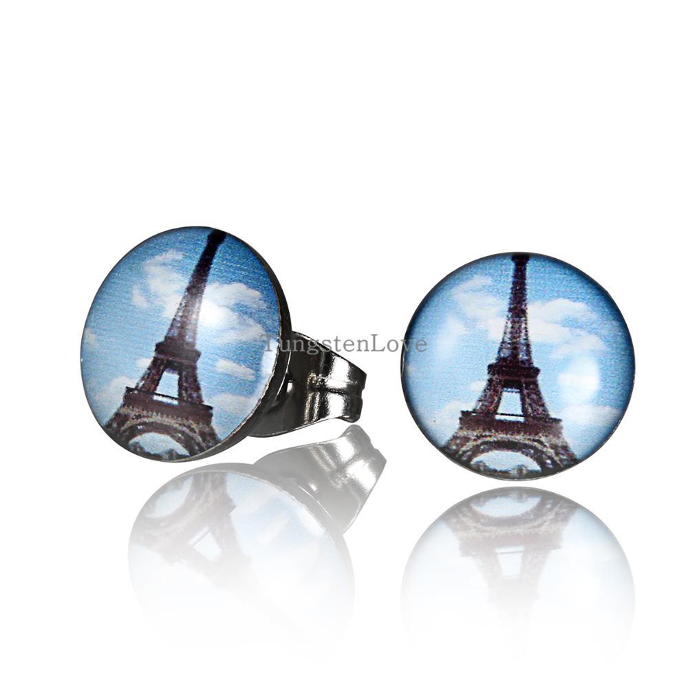 10mm Korean Fashion Eiffel Tower earrings Sweet Personality Stud Earrings For Women Ladies 2015 Fashion jewelry(China (Mainland))