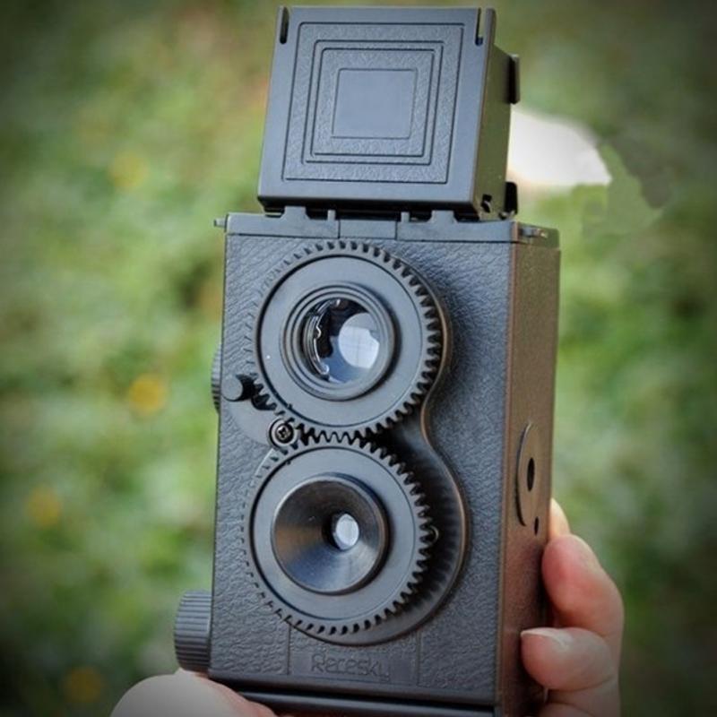 Professional DIY Black Classic Play Hobby Twin Lens Reflex TLR 35mm Holga for Lomo Camera Kit Outdoor Travel Photograph(China (Mainland))