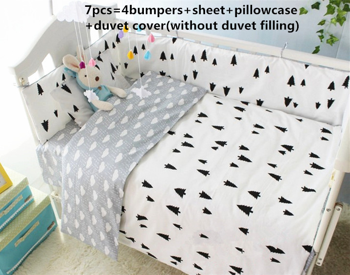 Promotion! 6/7PCS Baby Cot Bedding Set colors Baby Bedding Sets Newborn Baby Bedding Set , 120*60/120*70cm<br><br>Aliexpress