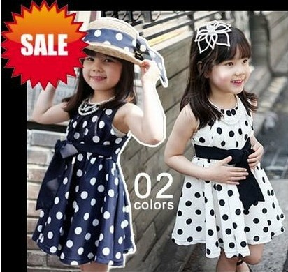 free shipping Wholesale dot summer girl dress white navy 3~11Age kids dress children clothing GQ-150(China (Mainland))