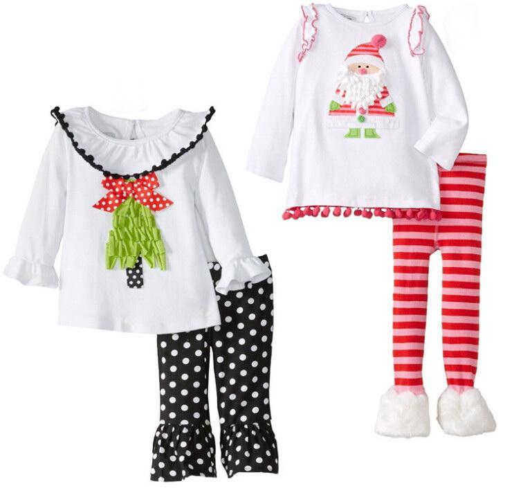 2015 childrens Christmas clothing set baby girls Cute Deer long sleeve t-shirt /dress+pants 2pcs set kids Halloween Suits outfit(China (Mainland))