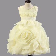 New Fashion Elegant Baby Girls Party Dress Sleeveless White Pink Flower Dresses Princess Kid Pageant Dress Bridesmaid Age 2-7 22