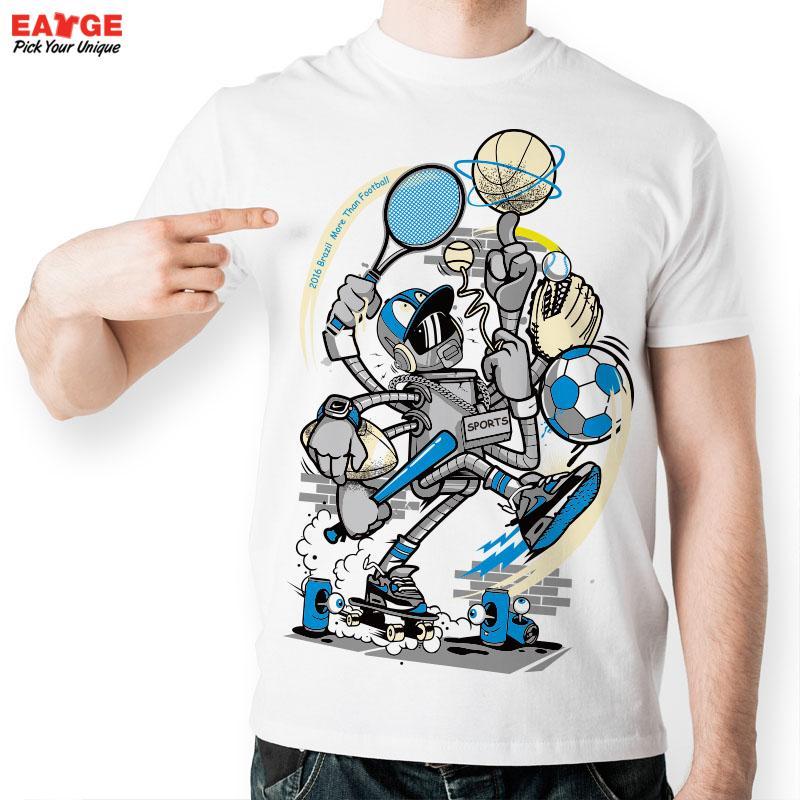 [MASCUBE]2017 Brazil Olympic Game Design t Shirt Novelty Football Sports Robot Player All Star Fashion Cool t-shirt Style Tshirt(China (Mainland))