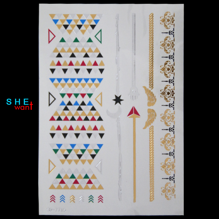 Sexy female gold and silver glitter temporary tattoos waterproof nontoxic tattoo henna tattoo flower tattoo fly tipping in India(China (Mainland))