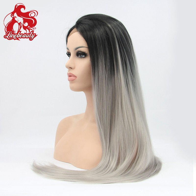 2016 hot fashion7a термоустойчивый hair wig two tone ombre color glueless black grey natural straight synthetic lace front wig