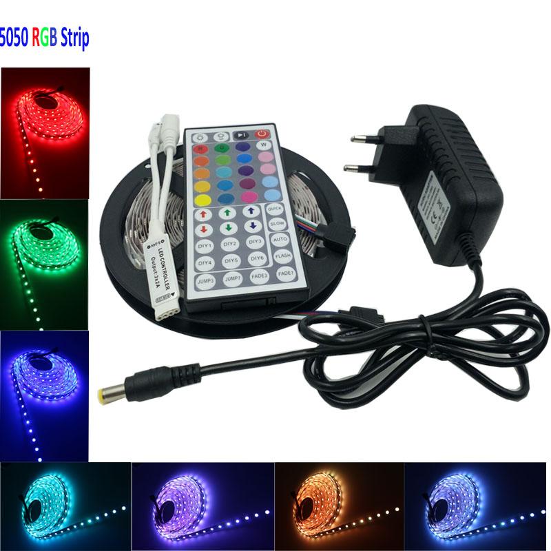 IP65 5m RGB smd led strip light 30Leds/m SMD 5050 Waterproof RGB Led Strip Light 44Key IR Controller DC12V 36W Power Adapter(China (Mainland))